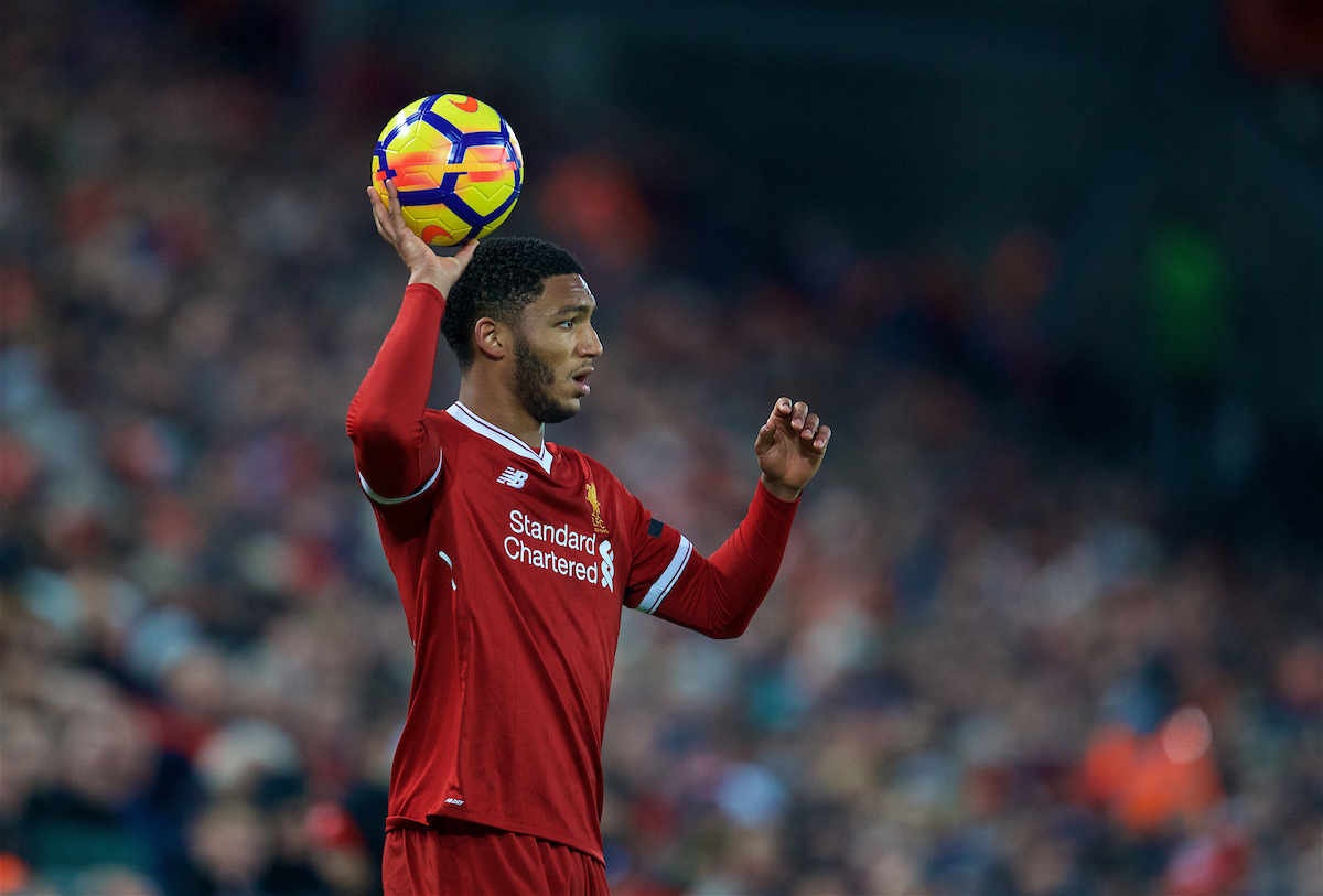 LIVERPOOL, ENGLAND - Sunday, January 14, 2018: Liverpool's Joe Gomez prepares to take a throw-in during the FA Premier League match between Liverpool and Manchester City at Anfield. (Pic by David Rawcliffe/Propaganda)