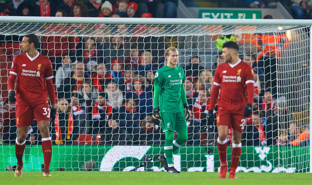 LIVERPOOL, ENGLAND - Sunday, January 14, 2018: Liverpool's goalkeeper Loris Karius looks dejected as Manchester City score the first equalising goal during the FA Premier League match between Liverpool and Manchester City at Anfield. (Pic by David Rawcliffe/Propaganda)