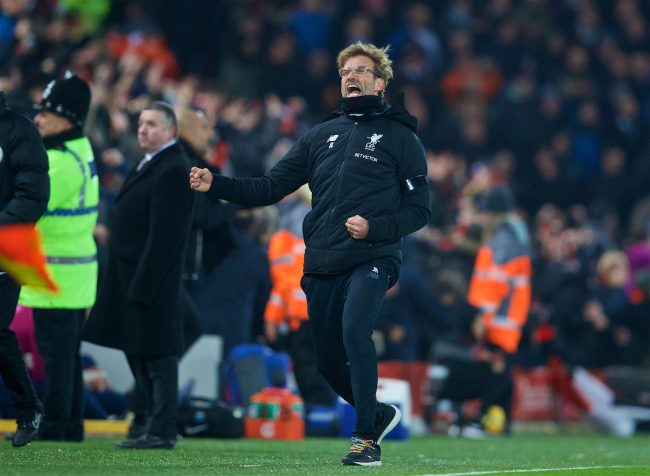 LIVERPOOL, ENGLAND - Sunday, January 14, 2018: Liverpool's manager Jürgen Klopp celebrates his side's third goal during the FA Premier League match between Liverpool and Manchester City at Anfield. (Pic by David Rawcliffe/Propaganda)