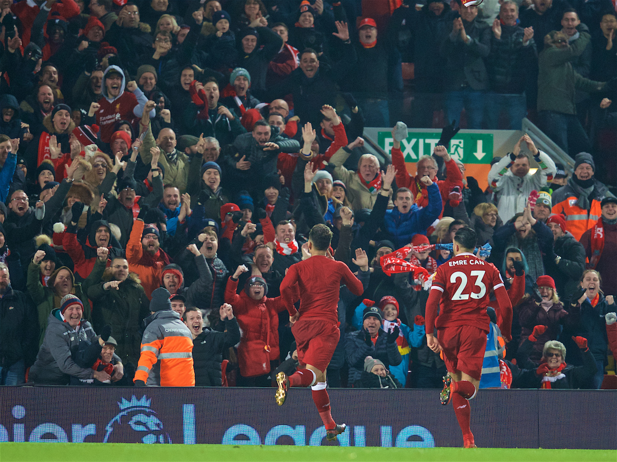 LIVERPOOL, ENGLAND - Sunday, January 14, 2018: Liverpool's Roberto Firmino celebrates scoring the second goal during the FA Premier League match between Liverpool and Manchester City at Anfield. (Pic by David Rawcliffe/Propaganda)