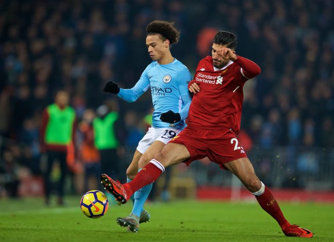 LIVERPOOL, ENGLAND - Sunday, January 14, 2018: Liverpool's Emre Can and Manchester City's Leroy Sane during the FA Premier League match between Liverpool and Manchester City at Anfield. (Pic by David Rawcliffe/Propaganda)