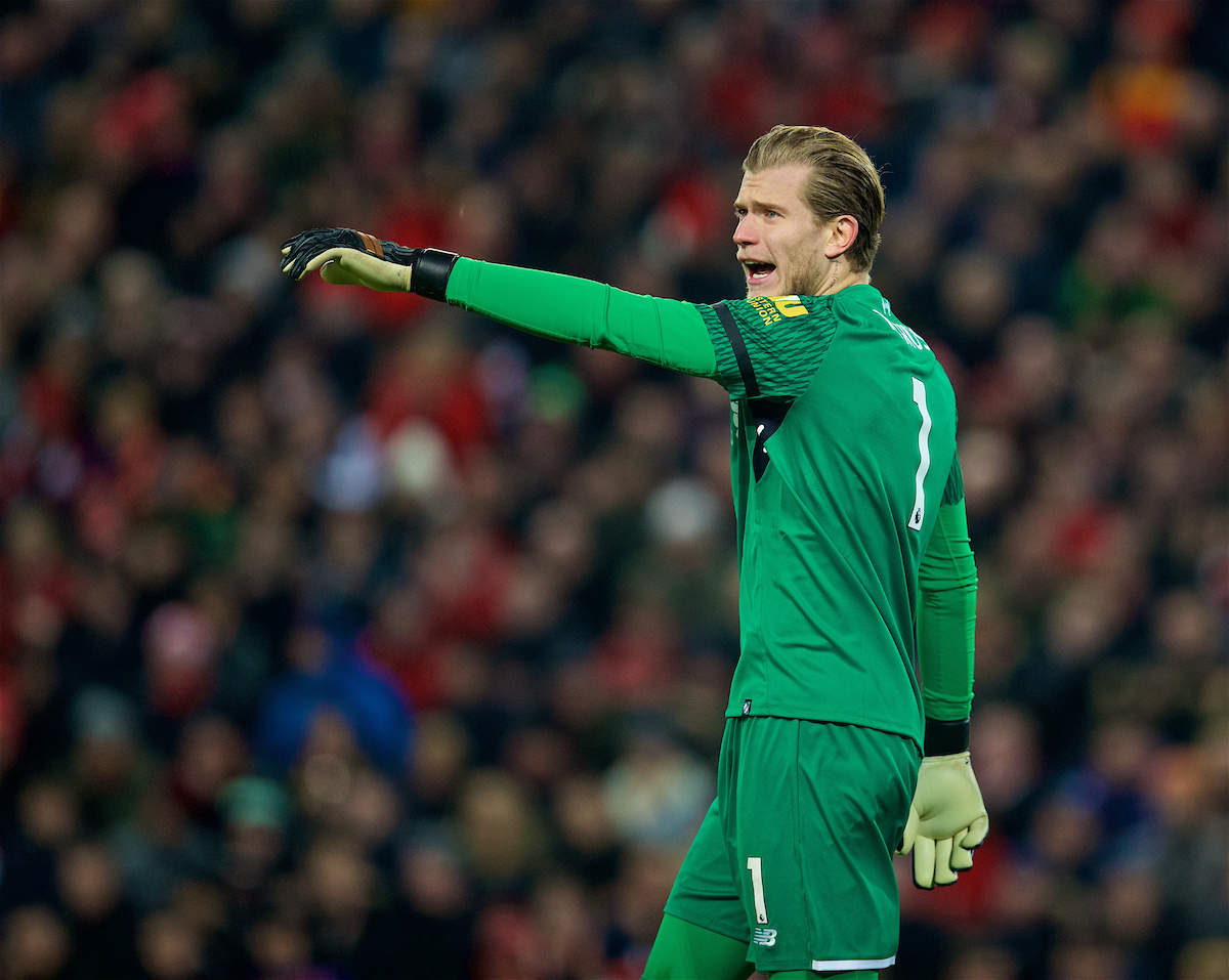 LIVERPOOL, ENGLAND - Sunday, January 14, 2018: Liverpool's goalkeeper Loris Karius during the FA Premier League match between Liverpool and Manchester City at Anfield. (Pic by David Rawcliffe/Propaganda)