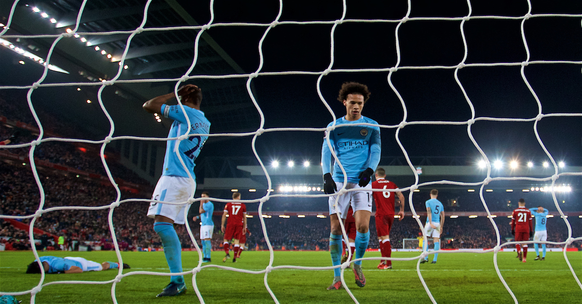 LIVERPOOL, ENGLAND - Sunday, January 14, 2018: Manchester City's Sergio Aguero, Fernando Luiz Roza 'Fernandinho' and Leroy Sane looks dejected after a late chance during the FA Premier League match between Liverpool and Manchester City at Anfield. (Pic by David Rawcliffe/Propaganda)