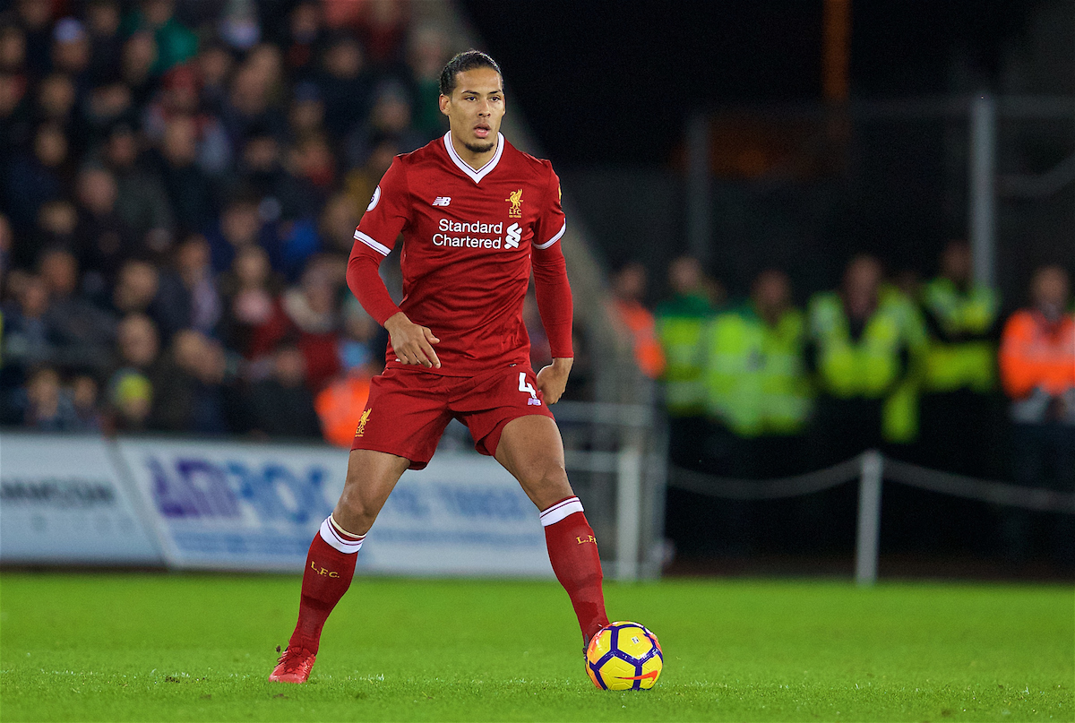 SWANSEA, WALES - Monday, January 22, 2018: Liverpool's Virgil van Dijk during the FA Premier League match between Swansea City FC and Liverpool FC at the Liberty Stadium. (Pic by David Rawcliffe/Propaganda)