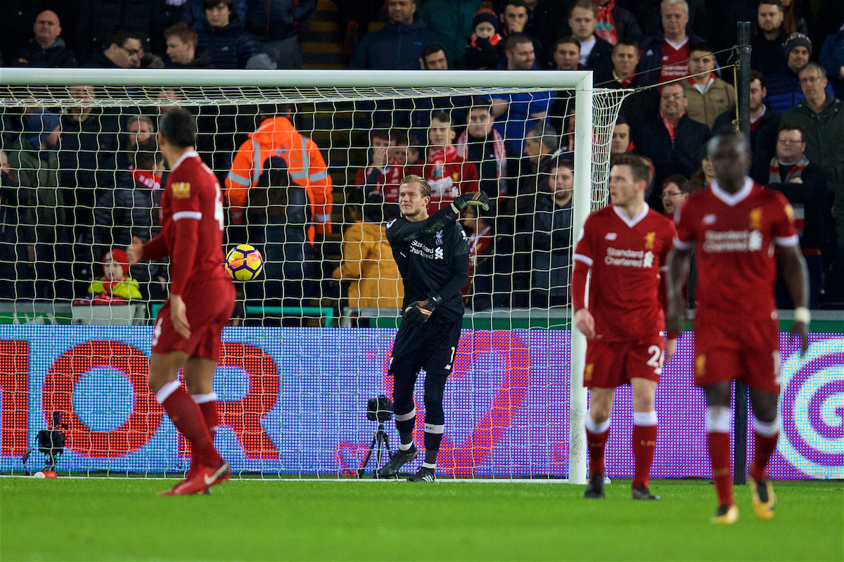SWANSEA, WALES - Monday, January 22, 2018: Liverpool's goalkeeper Loris Karius looks dejected as Swansea City score the opening goal during the FA Premier League match between Swansea City FC and Liverpool FC at the Liberty Stadium. (Pic by David Rawcliffe/Propaganda)