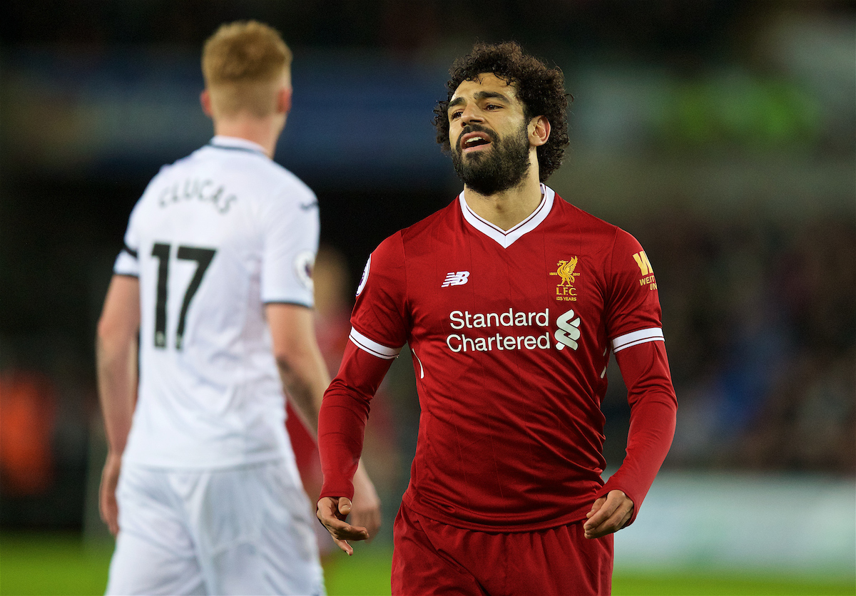 SWANSEA, WALES - Monday, January 22, 2018: Liverpool's Mohamed Salah looks dejected after missing a chance during the FA Premier League match between Swansea City FC and Liverpool FC at the Liberty Stadium. (Pic by David Rawcliffe/Propaganda)