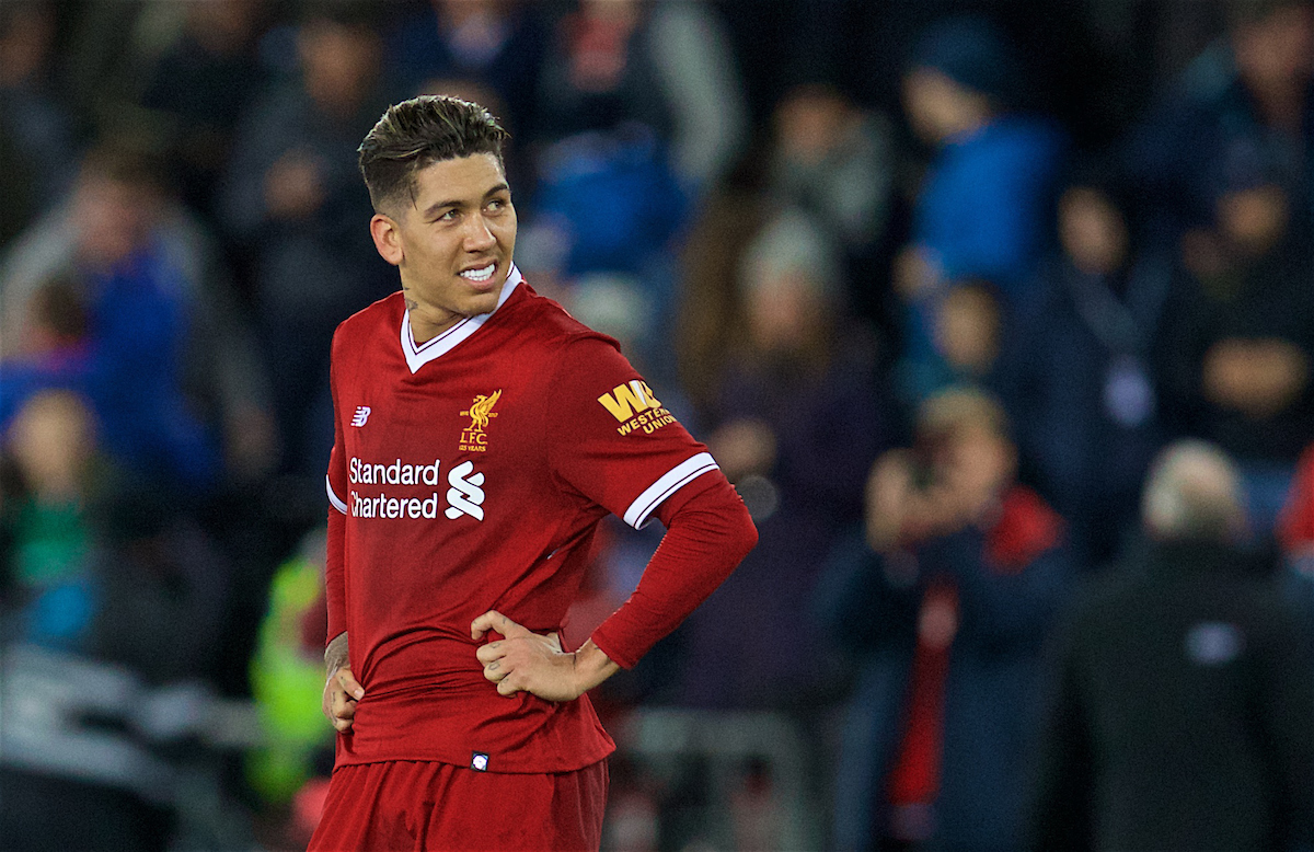 SWANSEA, WALES - Monday, January 22, 2018: Liverpool's Roberto Firmino looks dejected as his side lose 1-0 during the FA Premier League match between Swansea City FC and Liverpool FC at the Liberty Stadium. (Pic by David Rawcliffe/Propaganda)
