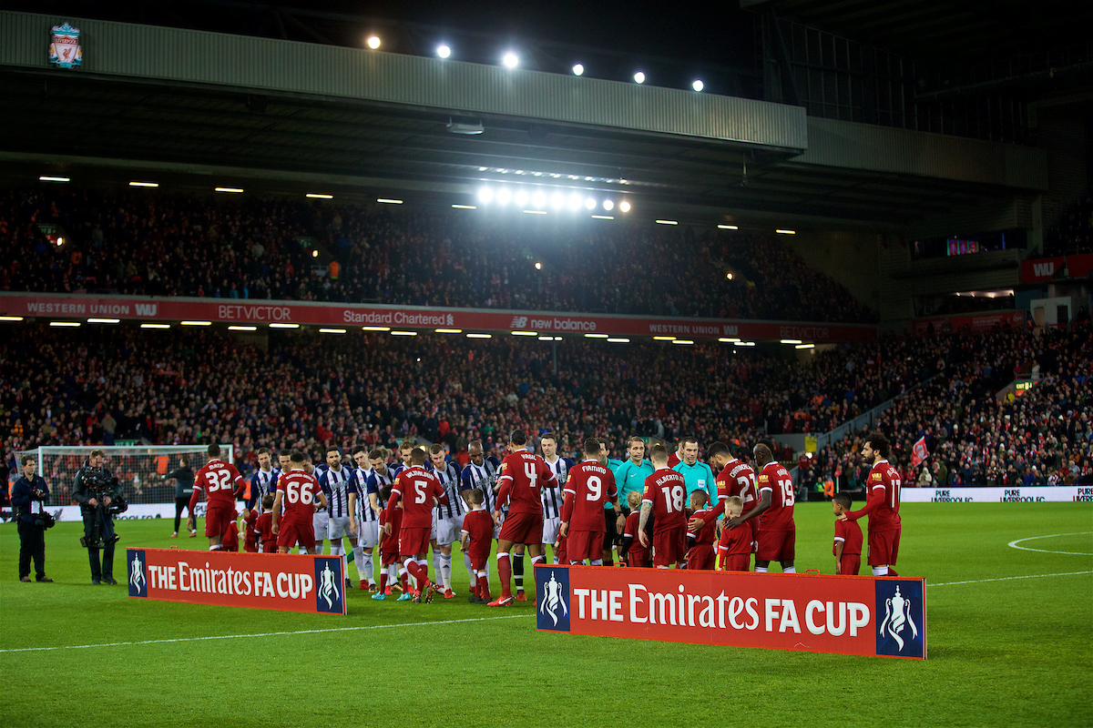 LIVERPOOL, ENGLAND - Sunday, January 14, 2018: Liverpool and West Bromwich Albion players shake hands beforec the FA Premier League match between Liverpool and Manchester City at Anfield. (Pic by David Rawcliffe/Propaganda)