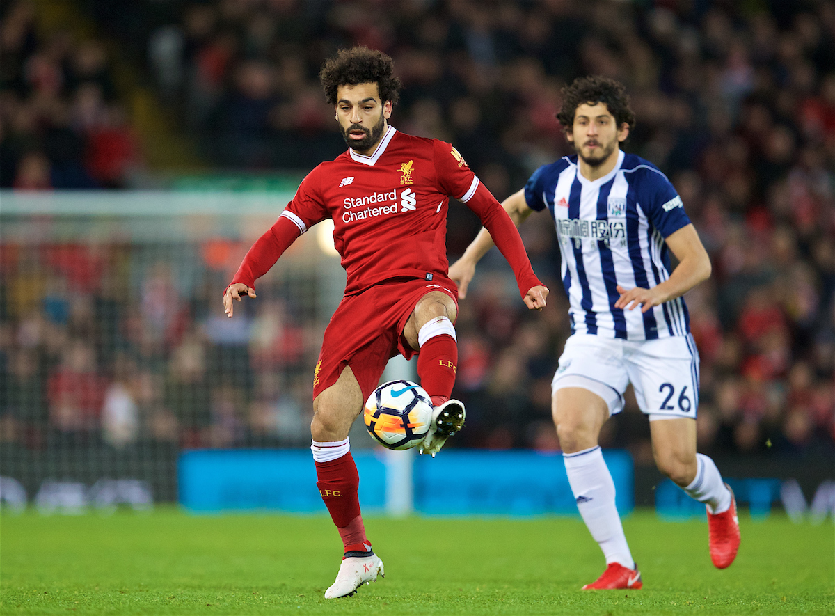 LIVERPOOL, ENGLAND - Sunday, January 14, 2018: Liverpool's Mohamed Salah during the FA Premier League match between Liverpool and Manchester City at Anfield. (Pic by David Rawcliffe/Propaganda)