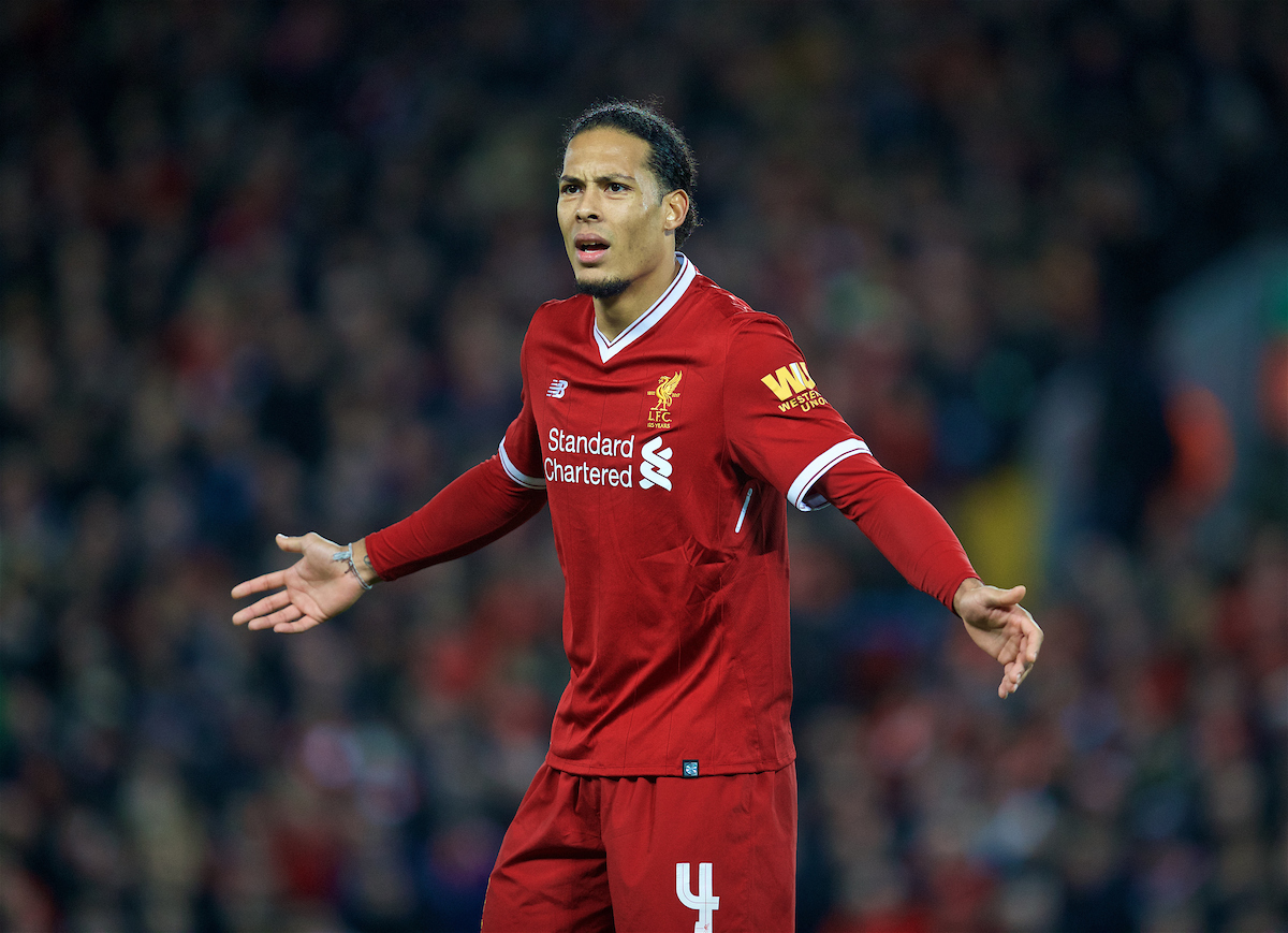 LIVERPOOL, ENGLAND - Sunday, January 14, 2018: Liverpool's Virgil van Dijk during the FA Premier League match between Liverpool and Manchester City at Anfield. (Pic by David Rawcliffe/Propaganda)