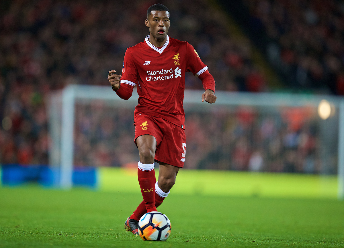 LIVERPOOL, ENGLAND - Sunday, January 14, 2018: Liverpool's Georginio Wijnaldum during the FA Premier League match between Liverpool and Manchester City at Anfield. (Pic by David Rawcliffe/Propaganda)
