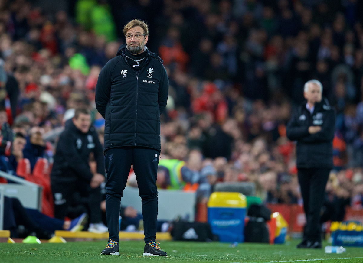 LIVERPOOL, ENGLAND - Sunday, January 14, 2018: Liverpool's manager Jürgen Klopp reacts during the FA Premier League match between Liverpool and Manchester City at Anfield. (Pic by David Rawcliffe/Propaganda)