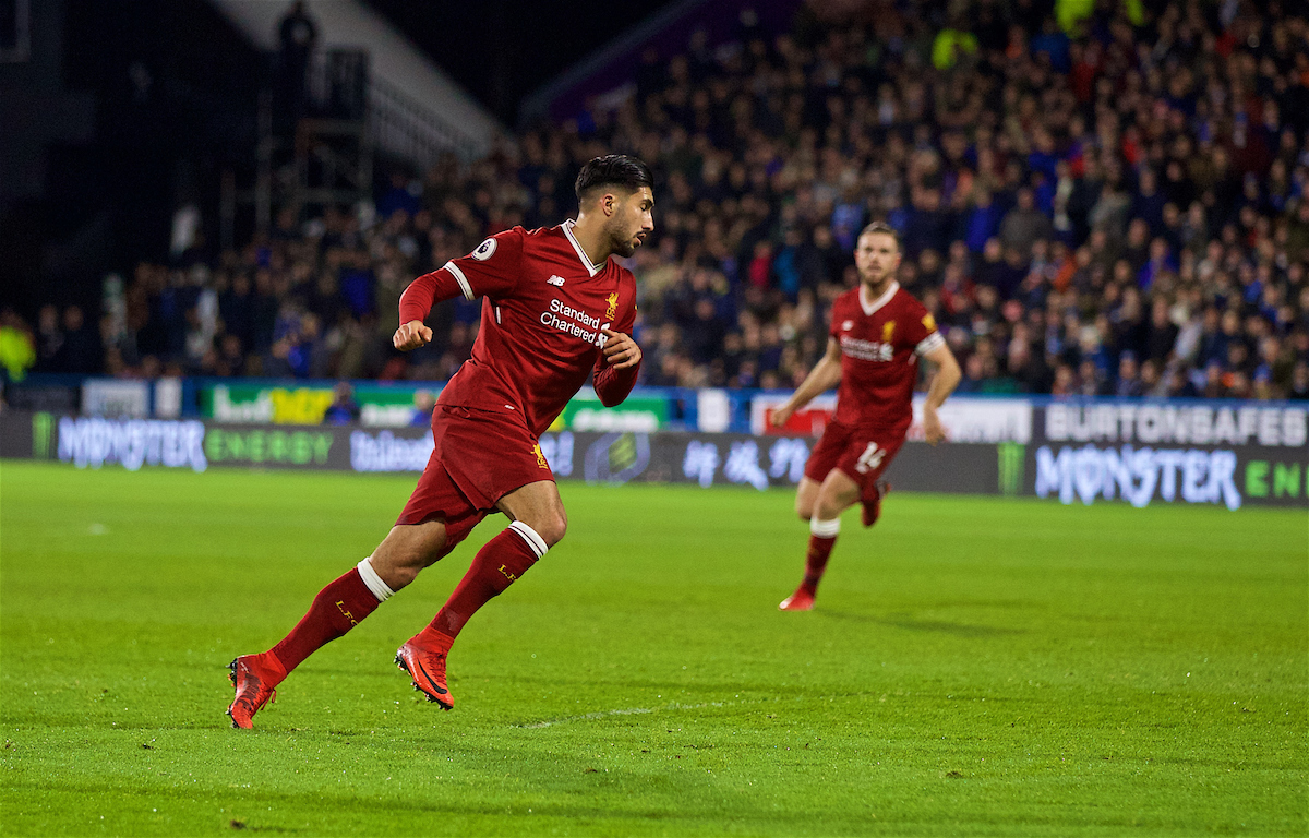 HUDDERSFIELD, ENGLAND - Tuesday, January 30, 2018: Liverpool's Emre Can celebrates scoring the first goal during the FA Premier League match between Huddersfield Town FC and Liverpool FC at the John Smith's Stadium. (Pic by David Rawcliffe/Propaganda)