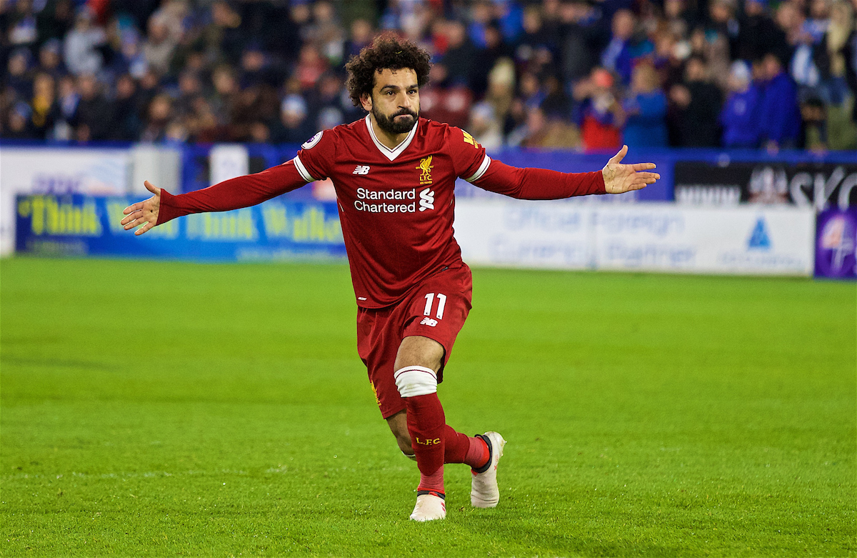 HUDDERSFIELD, ENGLAND - Tuesday, January 30, 2018: Liverpool's Mohamed Salah celebrates scoring the third goal during the FA Premier League match between Huddersfield Town FC and Liverpool FC at the John Smith's Stadium. (Pic by David Rawcliffe/Propaganda)