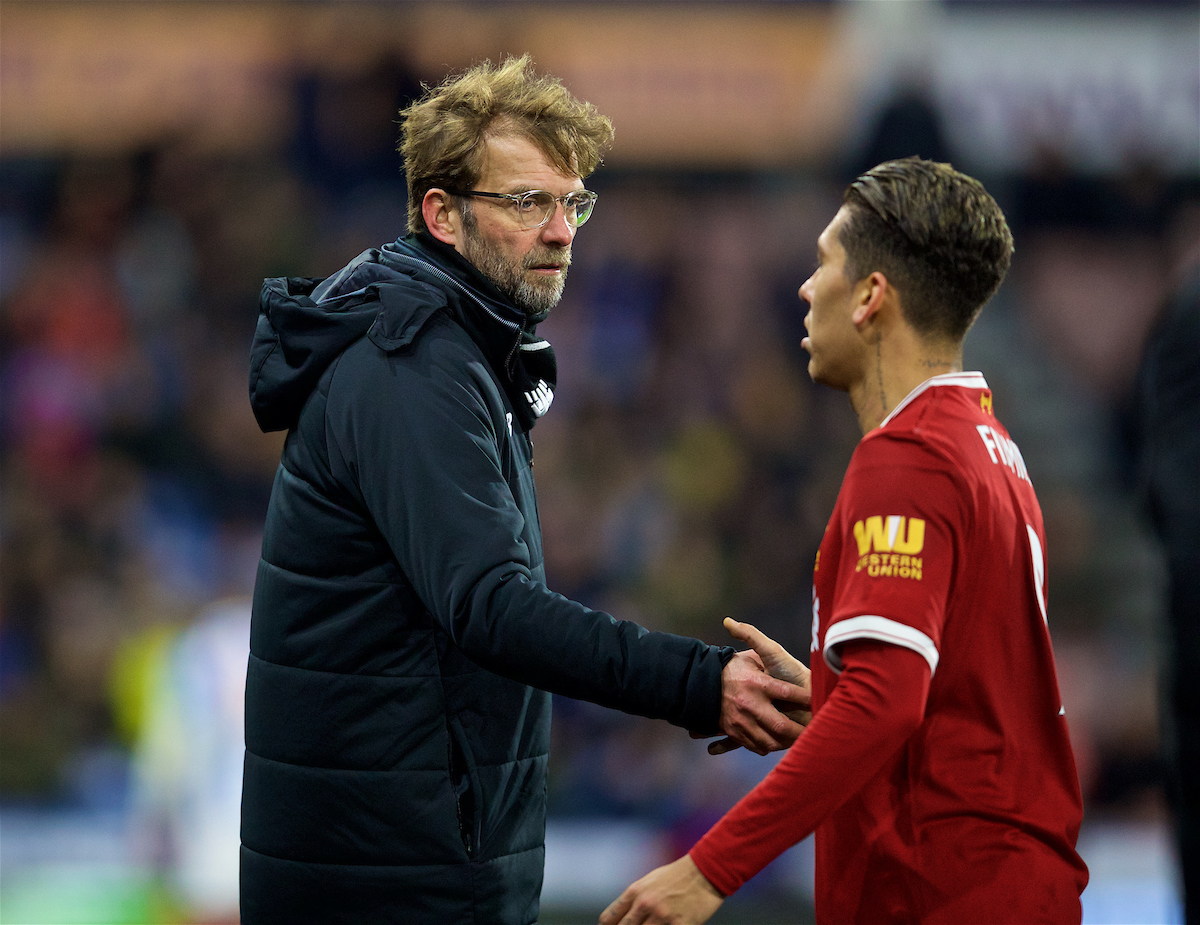 HUDDERSFIELD, ENGLAND - Tuesday, January 30, 2018: Liverpool's manager Jürgen Klopp and Roberto Firmino during the FA Premier League match between Huddersfield Town FC and Liverpool FC at the John Smith's Stadium. (Pic by David Rawcliffe/Propaganda)