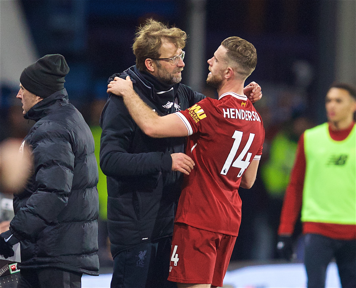 HUDDERSFIELD, ENGLAND - Tuesday, January 30, 2018: Liverpool's manager Jürgen Klopp embraces captain Jordan Henderson as he is substituted during the FA Premier League match between Huddersfield Town FC and Liverpool FC at the John Smith's Stadium. (Pic by David Rawcliffe/Propaganda)