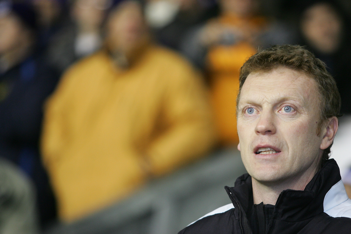 WIGAN, ENGLAND - TUESDAY, JANUARY 31st, 2006: Everton's manager David Moyes before the Premiership match against Wigan Athletic at the JJB Stadium. (Pic by Chris Brunskill/Propaganda)