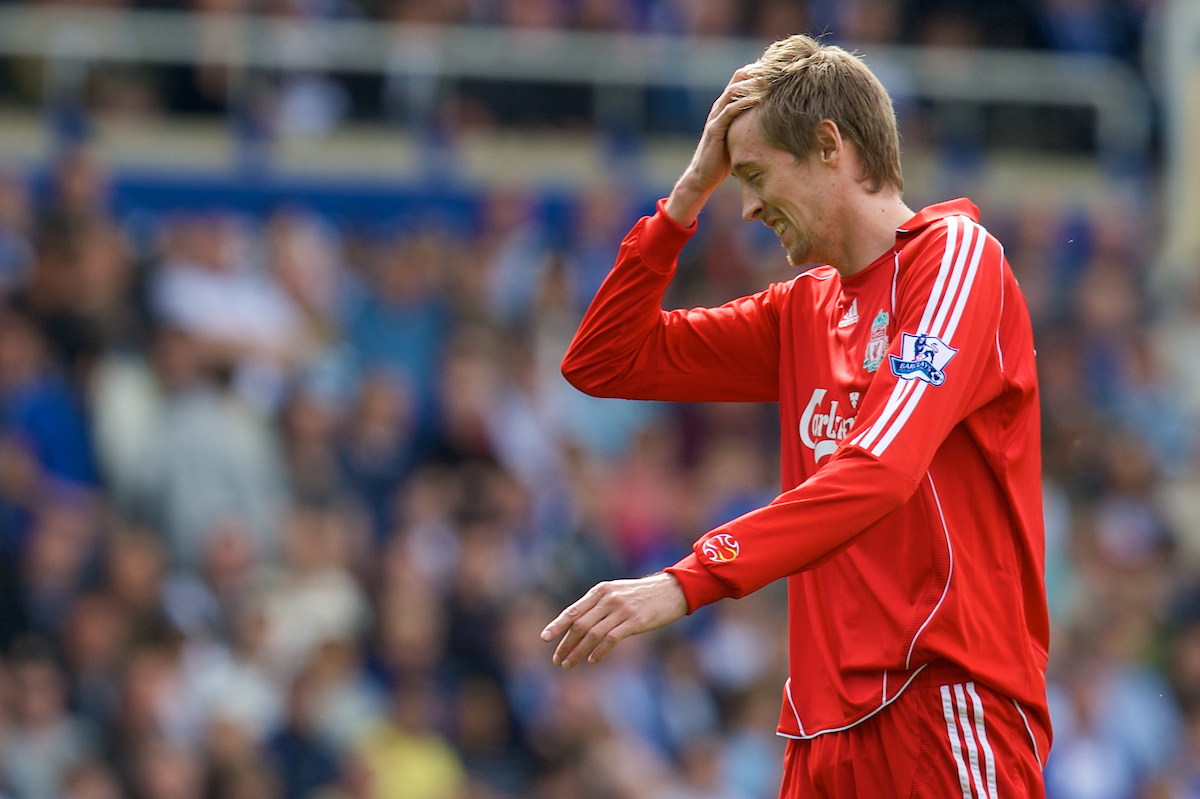 BIRMINGHAM, ENGLAND - Saturday, April 26, 2008: Liverpool's Peter Crouch rues a missed opportunity against Birmingham City during the Premiership match at St Andrews. (Photo by David Rawcliffe/Propaganda)