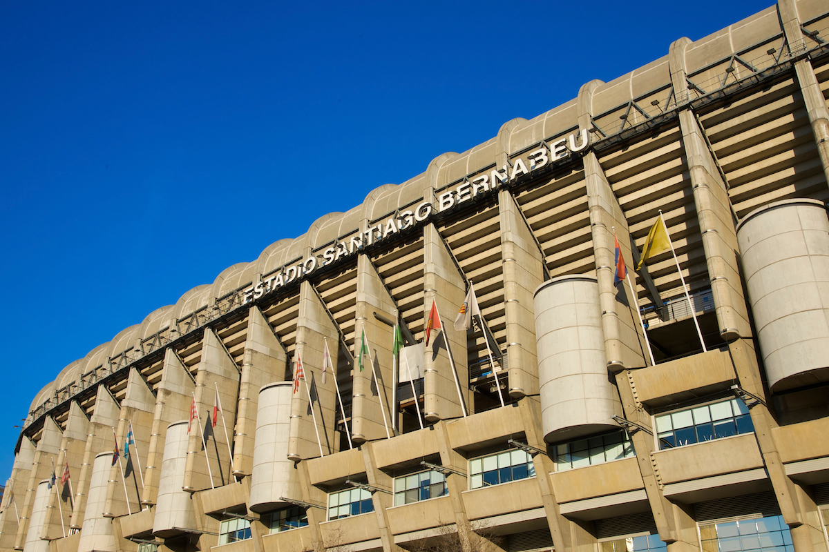 MADRID, SPAIN - Monday, February 23, 2009: The exterior view of the Estadio Santiago Bernabeu, the home of Real Madrid, who face Liverpool FC in the first knock-out round of the UEFA Champions League later this week. (Photo by David Rawcliffe/Propaganda)
