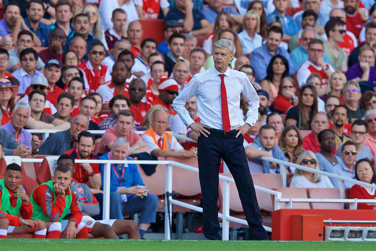 LONDON, ENGLAND - Sunday, August 14, 2016: Arsenal's manager Arsene Wenger during the FA Premier League match against Liverpool at the Emirates Stadium. (Pic by David Rawcliffe/Propaganda)