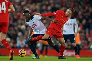 LIVERPOOL, ENGLAND - Saturday, February 11, 2017: Liverpool's Roberto Firmino in action against Tottenham Hotspur's Victor Wanyama during the FA Premier League match at Anfield. (Pic by David Rawcliffe/Propaganda)