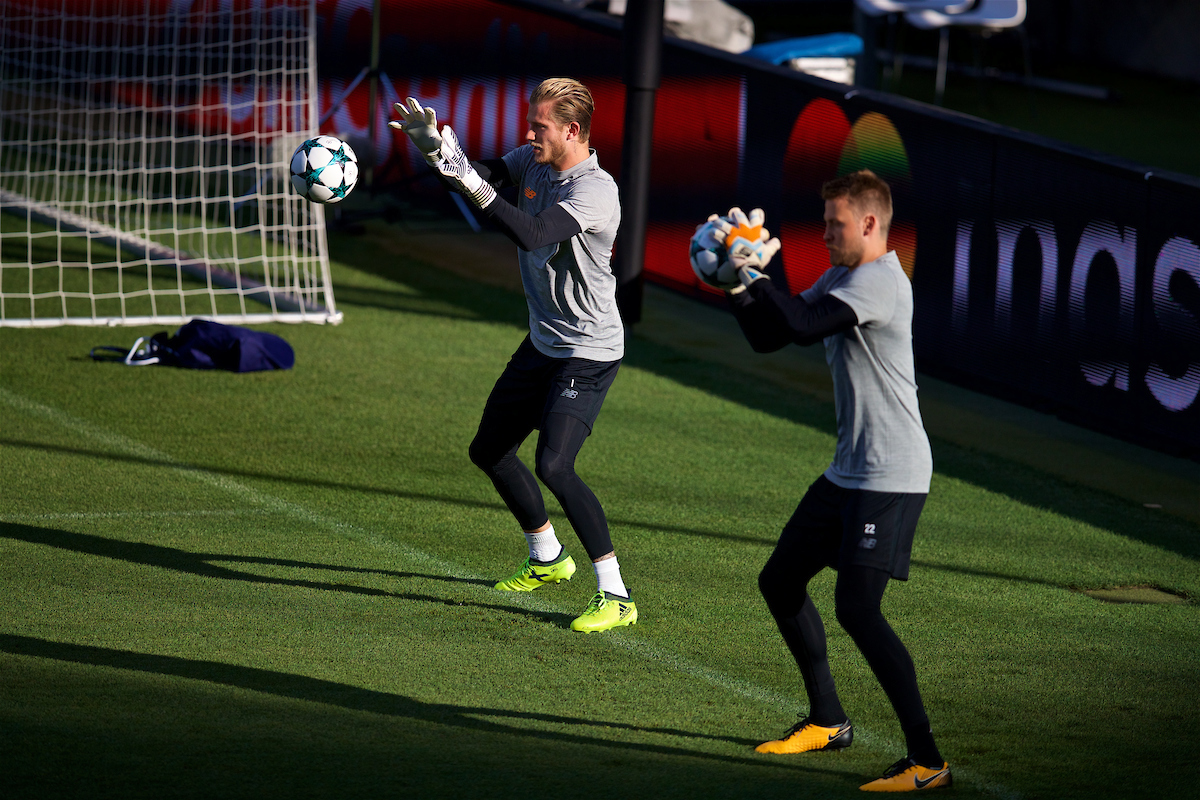 SINSHEIM, GERMANY - Monday, August 14, 2017: Liverpool's goalkeeper Loris Karius and goalkeeper Simon Mignolet during a training session ahead of the UEFA Champions League Play-Off 1st Leg match against TSG 1899 Hoffenheim at the Rhein-Neckar-Arena. (Pic by David Rawcliffe/Propaganda)