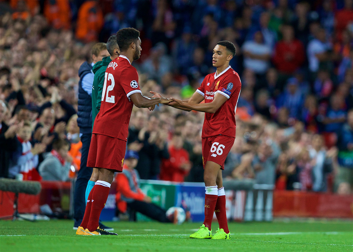 LIVERPOOL, ENGLAND - Wednesday, August 23, 2017: Liverpool's Trent Alexander-Arnold is replaced by substitute Joe Gomez during the UEFA Champions League Play-Off 2nd Leg match between Liverpool and TSG 1899 Hoffenheim at Anfield. (Pic by David Rawcliffe/Propaganda)