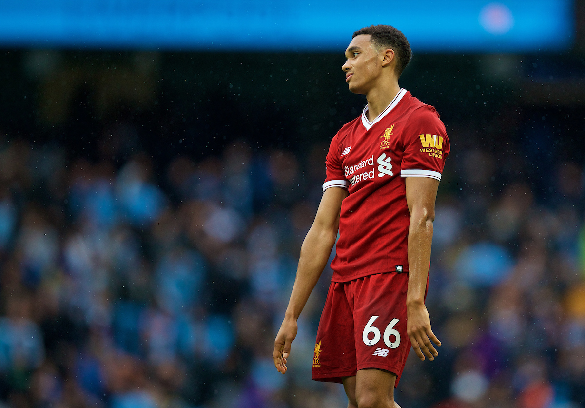 MANCHESTER, ENGLAND - Saturday, September 9, 2017: Liverpool's Trent Alexander-Arnold looks dejected after losing 5-0 to Manchester City during the FA Premier League match between Manchester City and Liverpool at the City of Manchester Stadium. (Pic by David Rawcliffe/Propaganda)