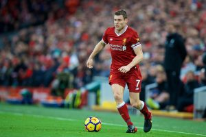 LIVERPOOL, ENGLAND - Saturday, December 30, 2017: Liverpool's James Milner during the FA Premier League match between Liverpool and Leicester City at Anfield. (Pic by David Rawcliffe/Propaganda)