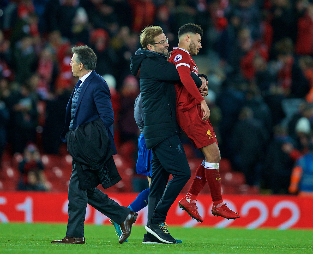 LIVERPOOL, ENGLAND - Saturday, December 30, 2017: Liverpool's manager Jürgen Klopp celebrates with Alex Oxlade-Chamberlain after the 2-1 victory over Leicester City during the FA Premier League match between Liverpool and Leicester City at Anfield. (Pic by David Rawcliffe/Propaganda)
