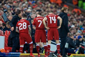 LIVERPOOL, ENGLAND - Sunday, January 14, 2018: Liverpool's manager Jürgen Klopp makes a triple substitution as he brings on Danny Ings, James Milner and captain Jordan Henderson during the FA Premier League match between Liverpool and Manchester City at Anfield. (Pic by David Rawcliffe/Propaganda)