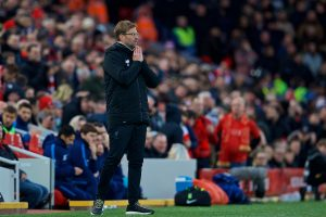 LIVERPOOL, ENGLAND - Sunday, February 4, 2018: Liverpool's manager Jürgen Klopp reacts during the FA Premier League match between Liverpool FC and Tottenham Hotspur FC at Anfield. (Pic by David Rawcliffe/Propaganda)