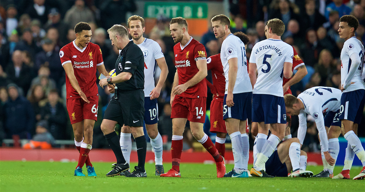 LIVERPOOL, ENGLAND - Sunday, February 4, 2018: Liverpool's Trent Alexander-Arnold is shown a yellow card by referee Jonathan Moss during the FA Premier League match between Liverpool FC and Tottenham Hotspur FC at Anfield. (Pic by David Rawcliffe/Propaganda)