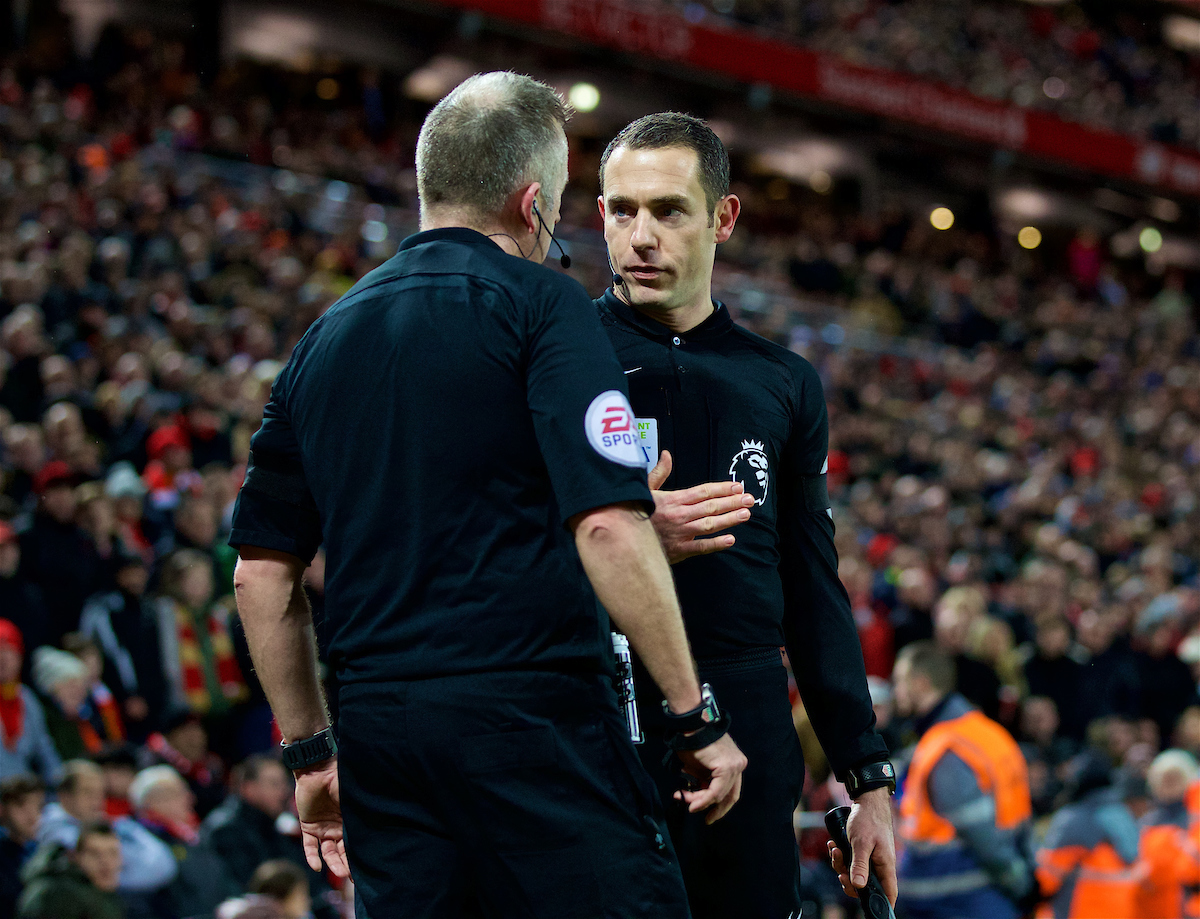 LIVERPOOL, ENGLAND - Sunday, February 4, 2018: Assistant referee Eddie Smart speaks to referee Jonathan Moss as he argues for a penalty for Tottenham Hotspur during the FA Premier League match between Liverpool FC and Tottenham Hotspur FC at Anfield. (Pic by David Rawcliffe/Propaganda)