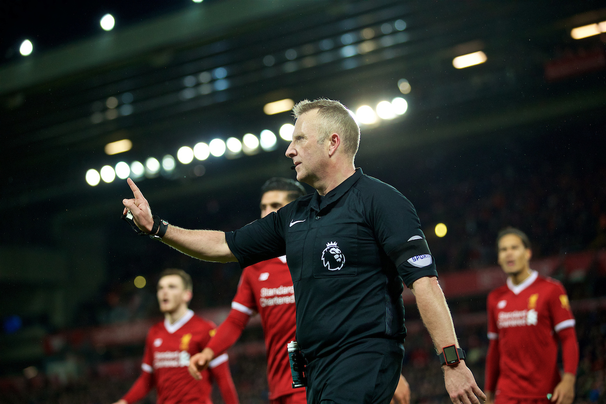 LIVERPOOL, ENGLAND - Sunday, February 4, 2018: Referee Jonathan Moss awards a second penalty to Tottenham Hotspur, in injury time, after an intervention from the assistant referee during the FA Premier League match between Liverpool FC and Tottenham Hotspur FC at Anfield. (Pic by David Rawcliffe/Propaganda)