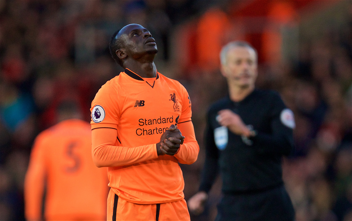 SOUTHAMPTON, ENGLAND - Sunday, February 11, 2018: Liverpool's Sadio Mane looks dejected after missing a chance during the FA Premier League match between Southampton FC and Liverpool FC at St. Mary's Stadium. (Pic by David Rawcliffe/Propaganda)