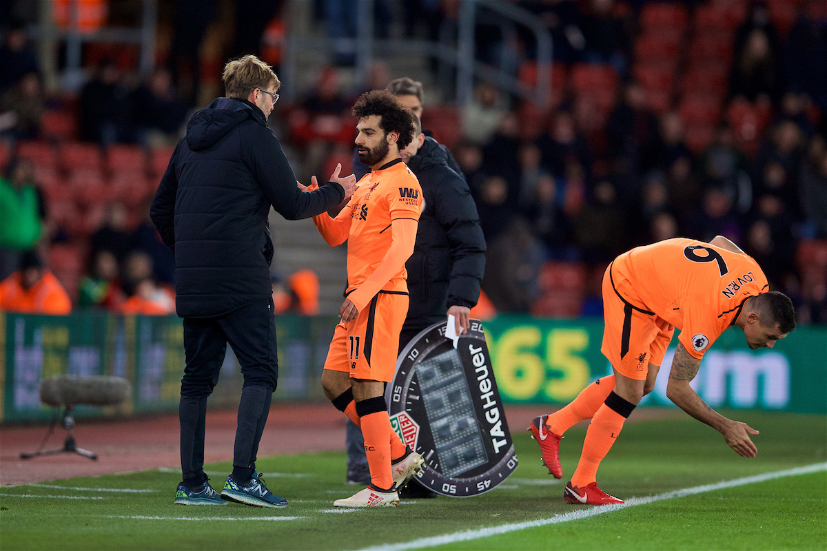 SOUTHAMPTON, ENGLAND - Sunday, February 11, 2018: Liverpool's Mohamed Salah and manager Jürgen Klopp during the FA Premier League match between Southampton FC and Liverpool FC at St. Mary's Stadium. (Pic by David Rawcliffe/Propaganda)
