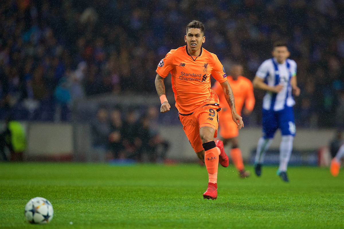 PORTO, PORTUGAL - Wednesday, February 14, 2018: Liverpool's Roberto Firmino during the UEFA Champions League Round of 16 1st leg match between FC Porto and Liverpool FC on Valentine's Day at the Estádio do Dragão. (Pic by David Rawcliffe/Propaganda)