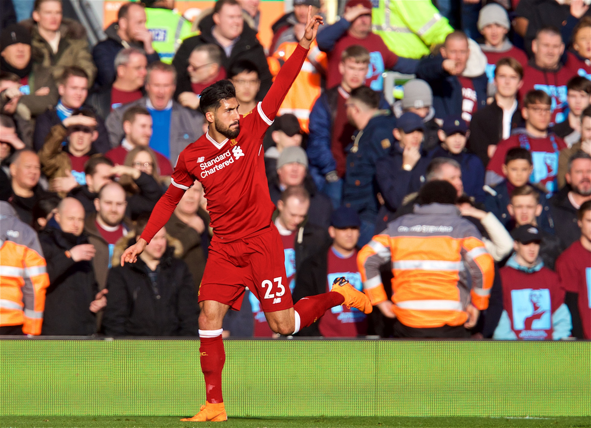 LIVERPOOL, ENGLAND - Saturday, February 24, 2018: Liverpool's Emre Can celebrates scoring the first goal during the FA Premier League match between Liverpool FC and West Ham United FC at Anfield. (Pic by David Rawcliffe/Propaganda)