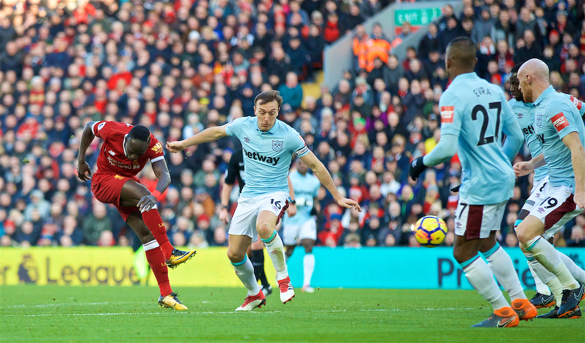LIVERPOOL, ENGLAND - Saturday, February 24, 2018: Liverpool's Sadio Mane during the FA Premier League match between Liverpool FC and West Ham United FC at Anfield. (Pic by David Rawcliffe/Propaganda)