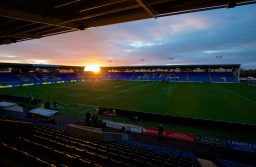 SHREWSBURY, ENGLAND - Monday, February 22, 2016: Sunset over Shrewsbury Town's New Meadow before the FA Cup 5th Round match against Manchester United at The New Meadow. (Pic by David Rawcliffe/Propaganda)