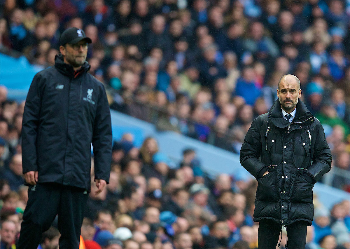 MANCHESTER, ENGLAND - Sunday, March 19, 2017: Manchester City's manager Pep Guardiola and Liverpool's manager Jürgen Klopp during the FA Premier League match at the City of Manchester Stadium. (Pic by David Rawcliffe/Propaganda)