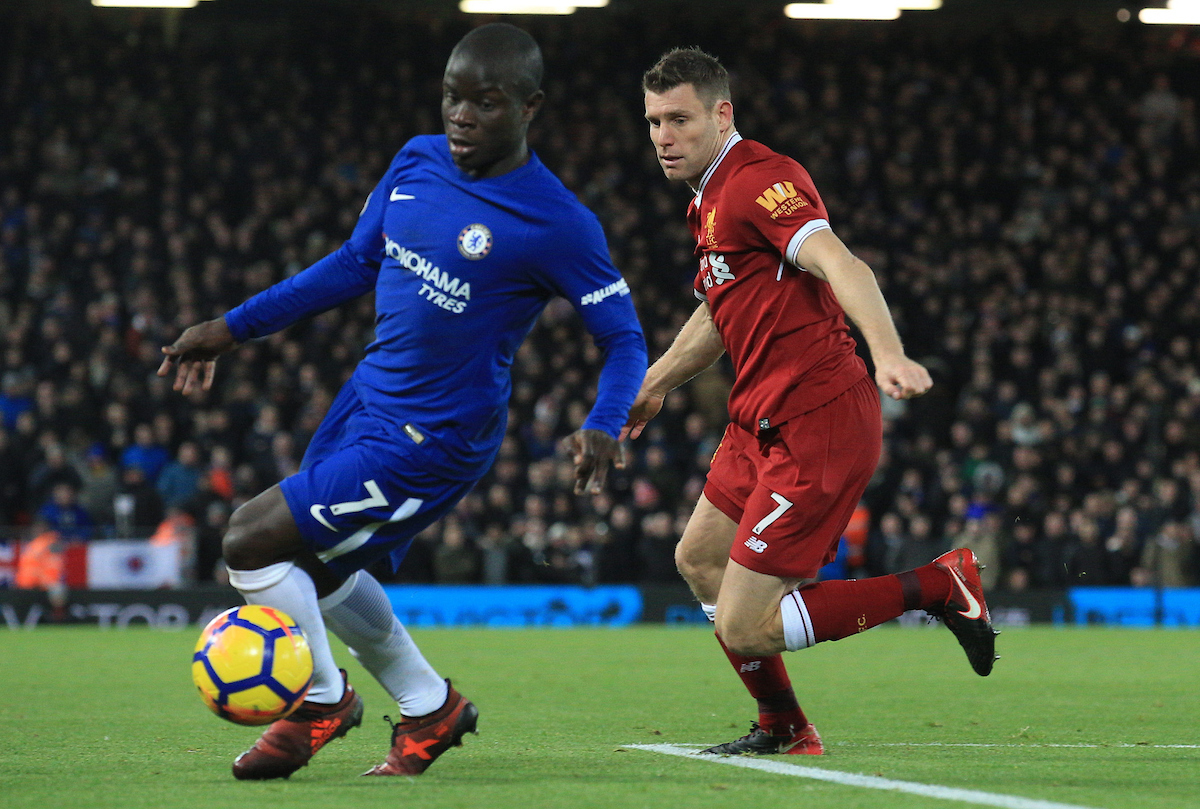 LIVERPOOL, ENGLAND - Saturday, November 25, 2017: Liverpool's James Milner (R) challenges Chelsea's Ngolo Kanté during the FA Premier League match between Liverpool and Chelsea at Anfield. (Pic by Lindsey Parnaby/Propaganda)