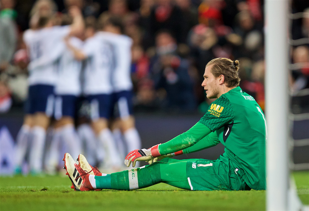 LIVERPOOL, ENGLAND - Sunday, February 4, 2018: Liverpool's goalkeeper Loris Karius looks dejected as Tottenham Hotspur score the first equalising goal during the FA Premier League match between Liverpool FC and Tottenham Hotspur FC at Anfield. (Pic by David Rawcliffe/Propaganda)