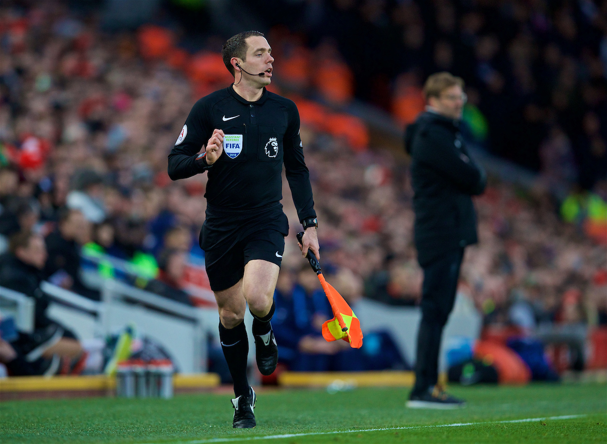 LIVERPOOL, ENGLAND - Sunday, February 4, 2018: Assistant referee Eddie Smart during the FA Premier League match between Liverpool FC and Tottenham Hotspur FC at Anfield. (Pic by David Rawcliffe/Propaganda)