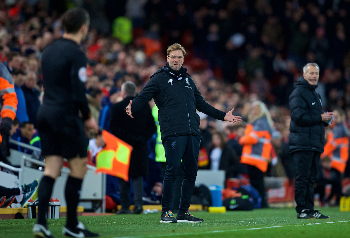 LIVERPOOL, ENGLAND - Sunday, February 4, 2018: Liverpool's manager Jürgen Klopp reacts after Tottenham Hotspur score an injury time second penalty to draw 2-2 during the FA Premier League match between Liverpool FC and Tottenham Hotspur FC at Anfield. (Pic by David Rawcliffe/Propaganda)