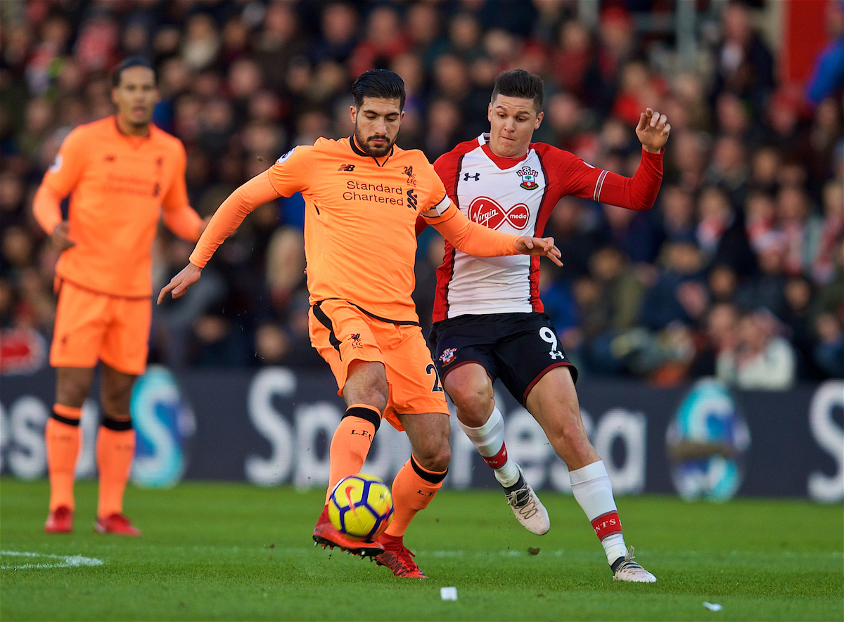 SOUTHAMPTON, ENGLAND - Sunday, February 11, 2018: Liverpool's Emre Can and Southampton's Guido Carrillo during the FA Premier League match between Southampton FC and Liverpool FC at St. Mary's Stadium. (Pic by David Rawcliffe/Propaganda)