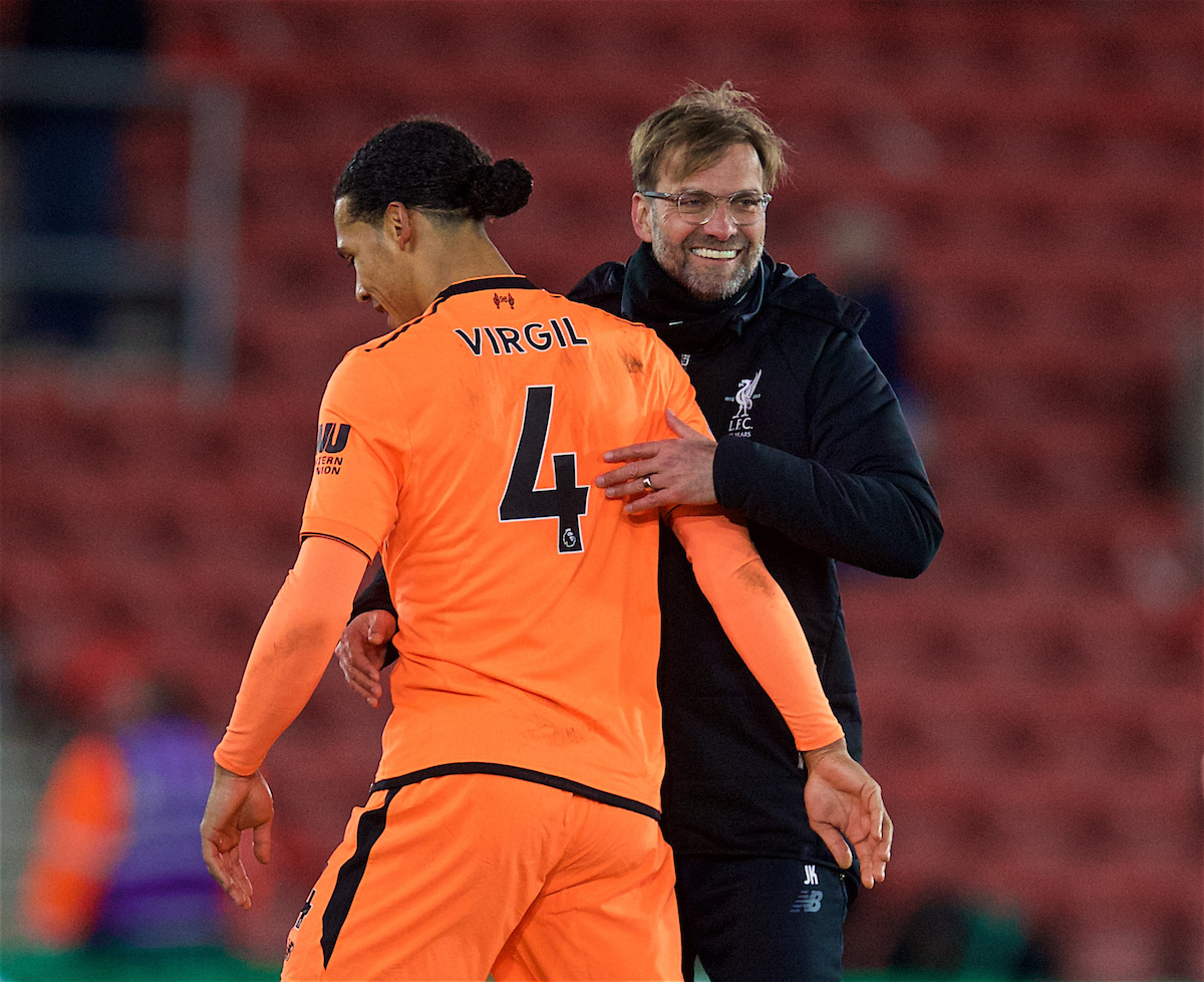 SOUTHAMPTON, ENGLAND - Sunday, February 11, 2018: Liverpool's manager Jürgen Klopp and Virgil van Dijk after the FA Premier League match between Southampton FC and Liverpool FC at St. Mary's Stadium. (Pic by David Rawcliffe/Propaganda)