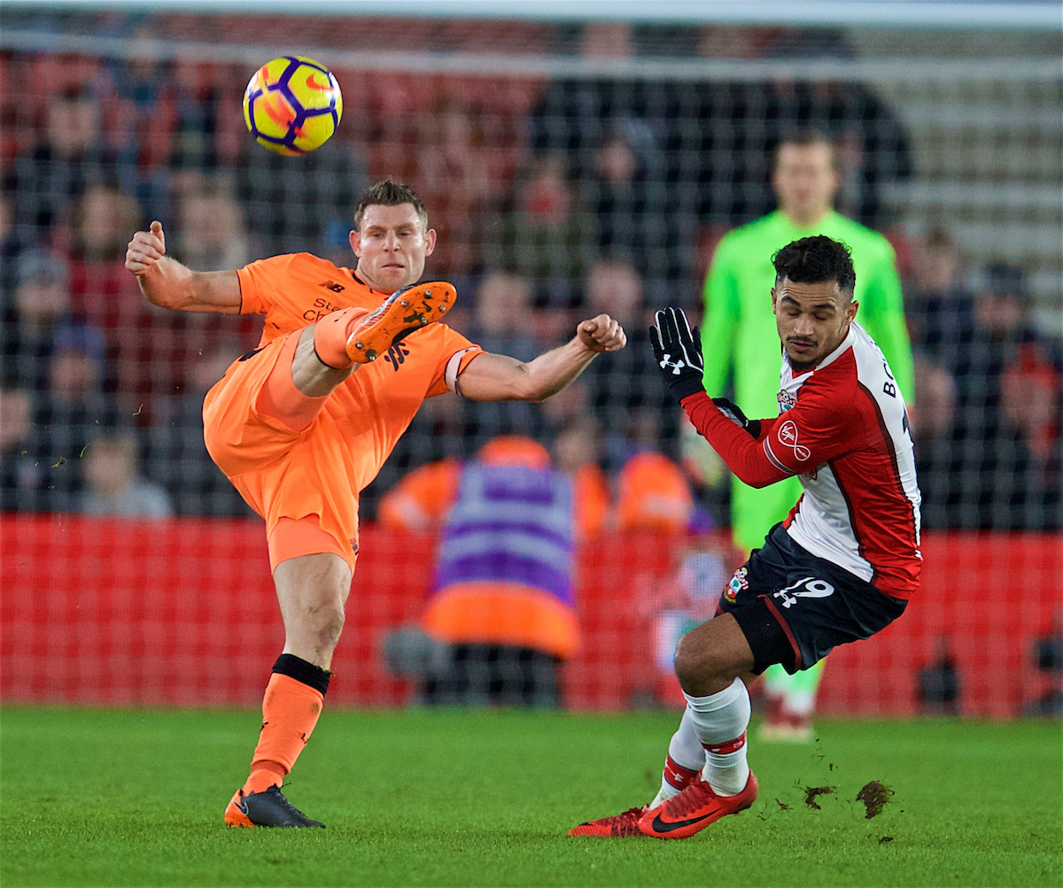 SOUTHAMPTON, ENGLAND - Sunday, February 11, 2018: Liverpool's James Milner during the FA Premier League match between Southampton FC and Liverpool FC at St. Mary's Stadium. (Pic by David Rawcliffe/Propaganda)