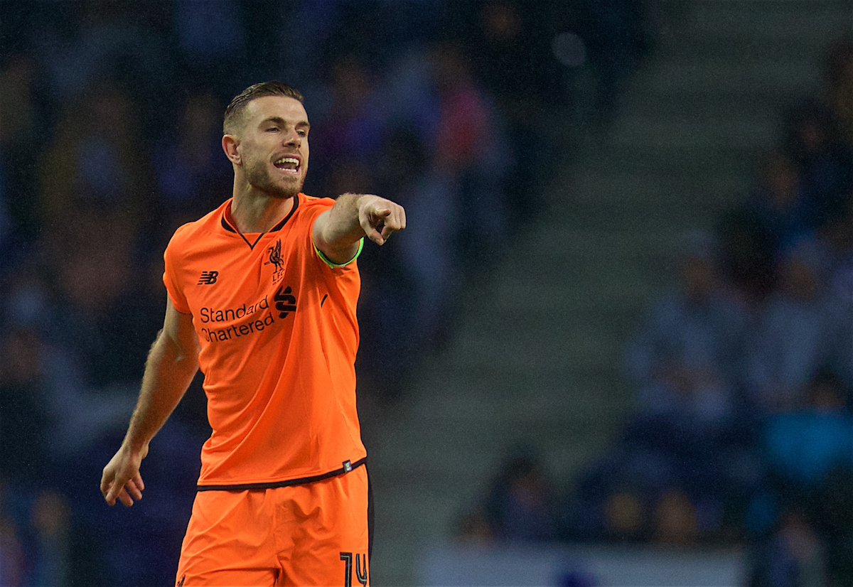 PORTO, PORTUGAL - Wednesday, February 14, 2018: Liverpool's captain Jordan Henderson during the UEFA Champions League Round of 16 1st leg match between FC Porto and Liverpool FC on Valentine's Day at the Estádio do Dragão. (Pic by David Rawcliffe/Propaganda)